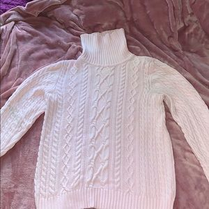 Soft Pink Cable Knit Turtleneck